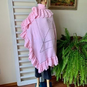 Hand Crochet Ruffle Pink oversized Blanket